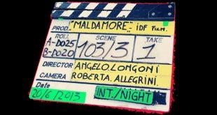 Angelo Longoni firma il Ciak sul set del film Maldamore