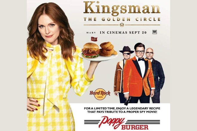 Poppy Burger, novità per Hard Rock Cafe tratta da Kingsman The Golden Circle