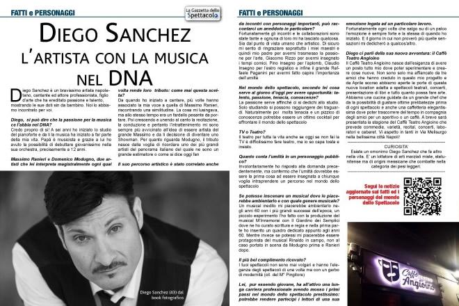 Diego Sanchez su La Gazzetta dello Spettacolo MAGAZINE - Settembre 2017