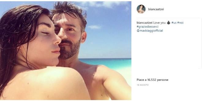 Bianca Atzei e Max Biagi, foto da Instagram.