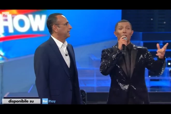 Marco Carta è Pharrell Williams a Tale e Quale Show