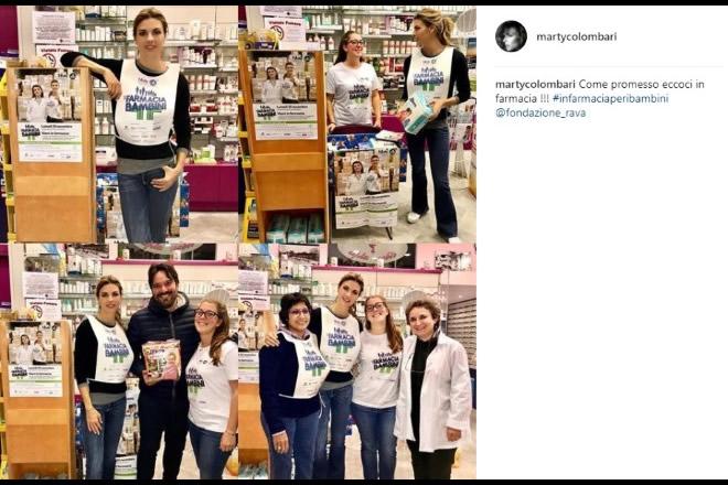 Martina Colombari in farmacia per i bambini. Foto dal profilo Instagram