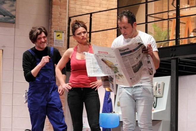 Ernesto Lama, Yuliya Mayarchuk e Lucio Pierri in TFR, Trattamento di Fine Rapporto. Foto da Ufficio Stampa