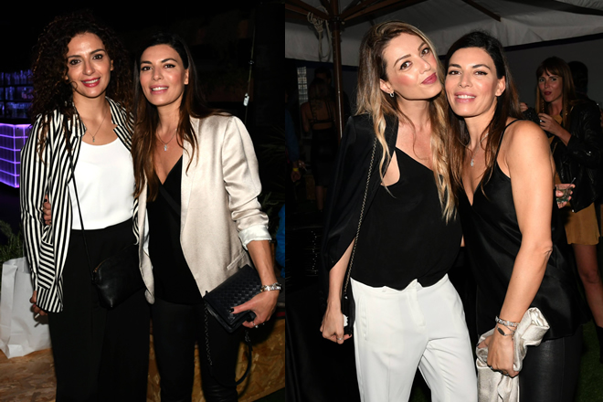 Claudia Ruffo al suo compleanno. Nella foto di sinistra con Gioia Spaziani e a destra con Barbara Petrillo.
