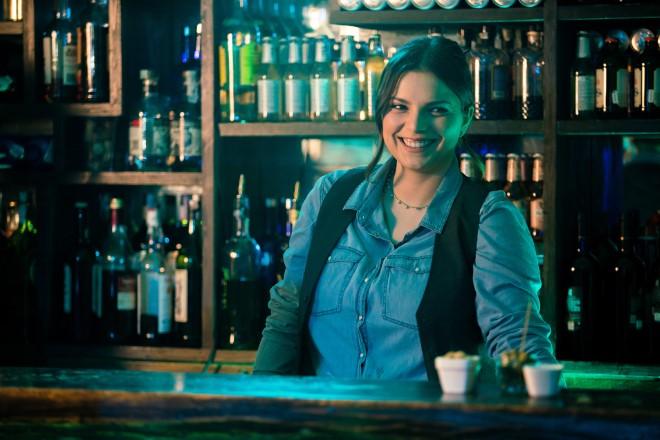 Marika Costabile sul set di Tonno Spiaggiato.