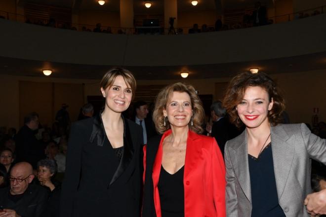 Paola Cortellesi, Daniela Poggi, Jasmine Trinca premiate a La Pellicola D'Oro 2018. Foto di Maurizio Riccardi