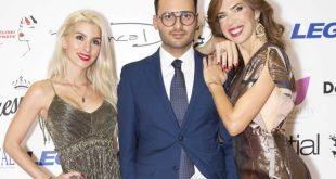 Alberto Cerqua con Sara Miguel e Veronica Maya alla finale di Miss Europe Continental