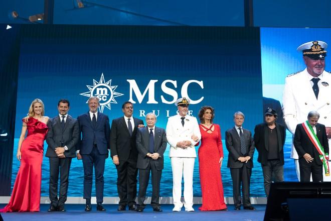 La presentazione di MSC Seaview con Sophia Loren e l'aquipaggio. Foto di Ivan Sarfatti