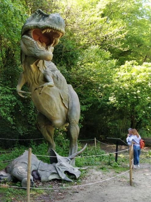 Ricostruzione del T-Rex di Jurassic World alla mostra DinosauriInCarneEOssa