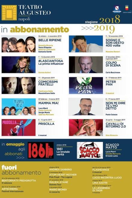 Teatro Augusteo, stagione teatrale 2018-19