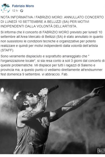 Annullato il concerto di Fabrizio Moro per il Bellizzi Summer Fest. Il post di Facebook.