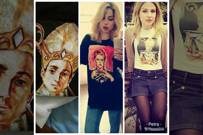 Petra Scognamiglio indossa alcune sue t-shirt. Foto da Facebook.