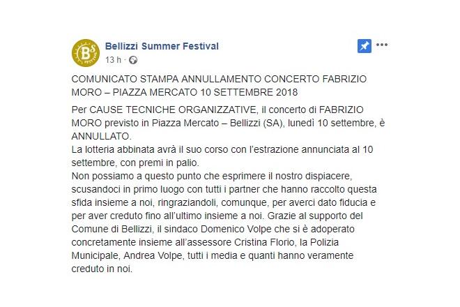 Il comunicato stampa su Facebook del Bellizzi Summer Festival sul cambio di programma