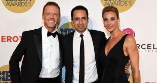 Rocco Siffredi, Alek Helmy (Fondatore del premio Xbiz), Rózsa Tassi (moglie di Rocco Siffredi). Foto da Ufficio Stampa.