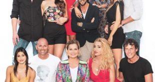 Simona Ventura e le coppie di Temptation Island VIP 2018. Foto da Ufficio Stampa