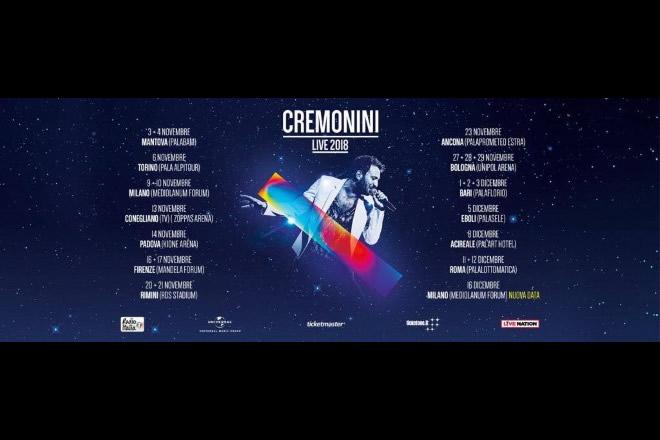 Cesare Cremonini, tutte le date del tour 2018