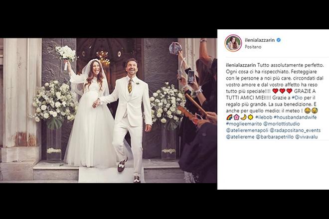 Matrimonio di Ilenia Lazzarin e Roberto Palmieri. Foto da Instagram