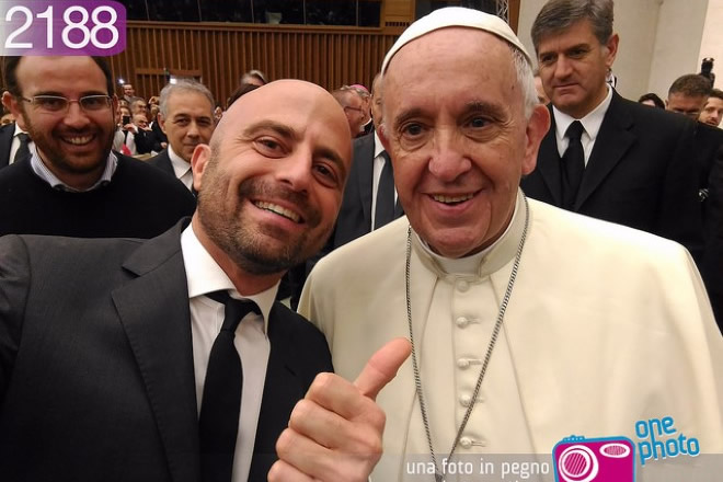 Luca Abete con Papa Francesco