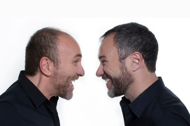 Gianfranco e Massimiliano Gallo in Comicissimi fratelli. Foto di Matteo Anatrella