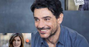 Due immagini di Giuseppe Zeno e Vittoria Puccini insieme sul set di Mentre ero via. Foto dal Web