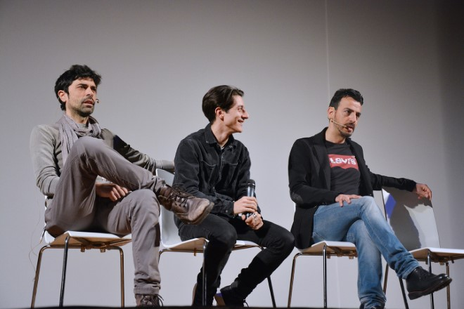 Gigi e Ross con Oreste Ciccariello alla presentazione de La maldezione dell'acciaio al Teatro Acacia