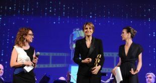 Barbara Tassini, Paola Cortellesi e Michelle Carpente. La pellicola d'oro 2018. Foto di Maurizio Riccardi