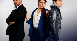 Danilo Brugia, Luca Giacomelli Ferrarini ed Elena Mancuso in L'ascensore. Foto da Ufficio Stampa