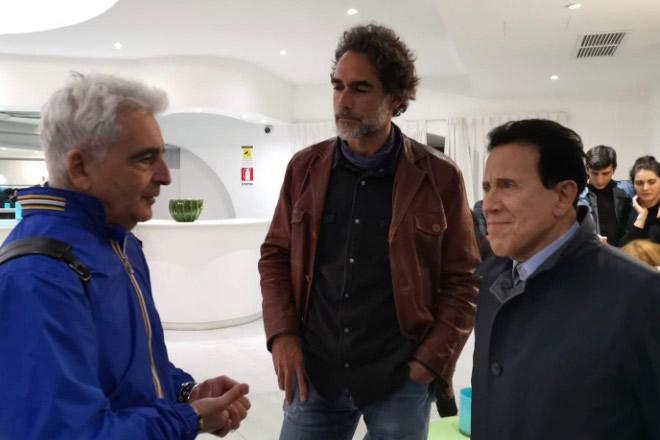 Pasquale Falcone con Sergio Muniz e Giacomo Rizzo sul set di Alessandra