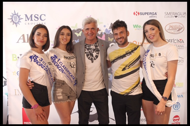 Dino Piacenti e Marco Maddaloni con le prime tre classificate alla tappa di Ragazza We Can Dance 2019
