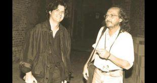 Luca Bonaffini con Claudio Lolli in Piazza Leon Battista Alberti nel 1998
