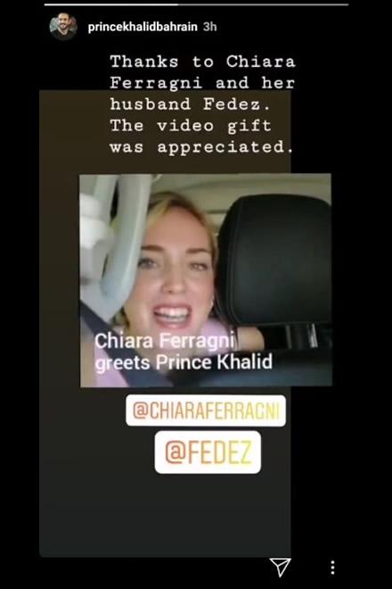 Khalid Bin Hamad Al Khalifa pubblica sui social il video di Chiara Ferragni e Fedez. Screen da Ufficio Stampa