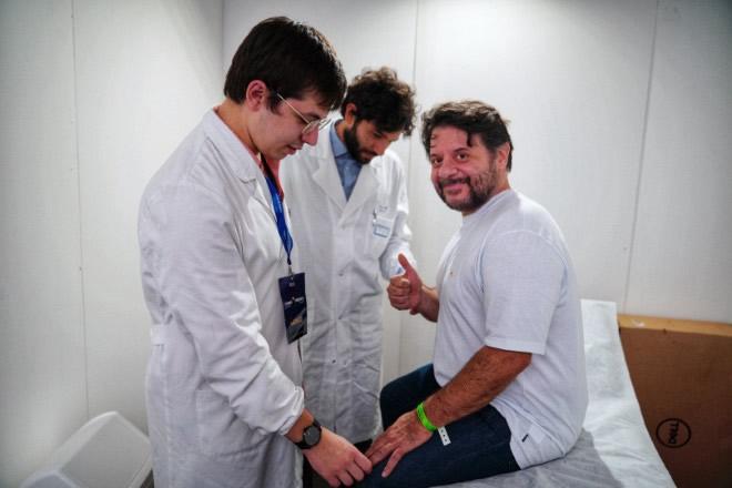 Lillo Petrolo effettua il check-up a Tennis e Friends 2019. Foto da Ufficio Stampa