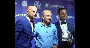 Luca Abete, Carlo Buccirosso e Carlo Fumo in un momento della premiazione di Italian Movie Award 2019. Foto da Facebook