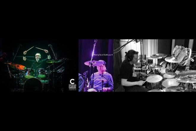 Foto dei batteristi intervistati con crediti nella caption