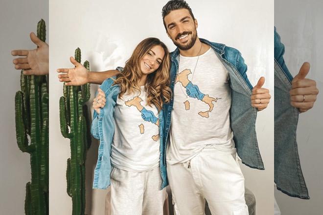Eleonora Brunacci e Mariano Di Vaio con la t-shirt WeCARE