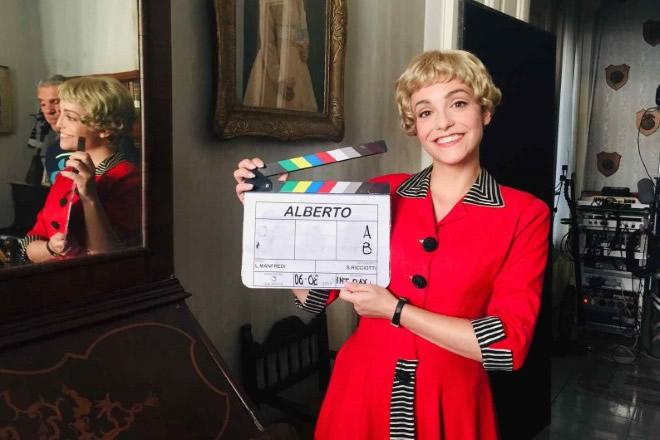 Martina Galletta sul set di Permette? Alberto Sordi