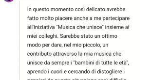Lo sfogo di Cristina D'Avena su Musica Che Unisce
