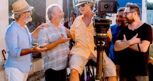 Ronn Moss con Paolo Sassanelli durante i primi incontri per Viaggio a Sorpresa