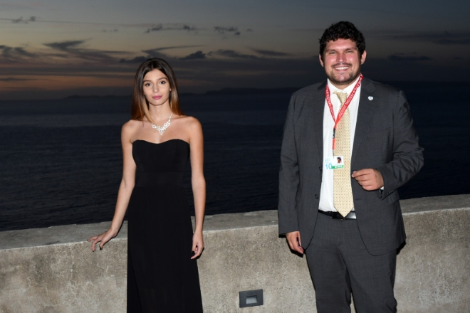 Gaia Girace con Giuseppe Alessio Nuzzo al Social World Film Festival 2020. Foto di Roberto Jandoli