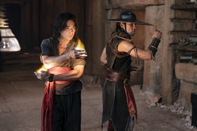"""(L-r) LUDI LIN as Liu Kang and MAX HUANG as Kung Lao in New Line Cinema's action adventure """"Mortal Kombat,"""" a Warner Bros. Pictures release."""