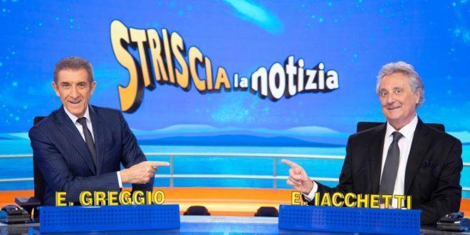 Ezio Greggio ed Enzo Iacchetti: il saluto a Striscia la Notizia