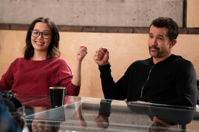 Charlotte Nicdao and Rob McElhenney in Mythic Quest